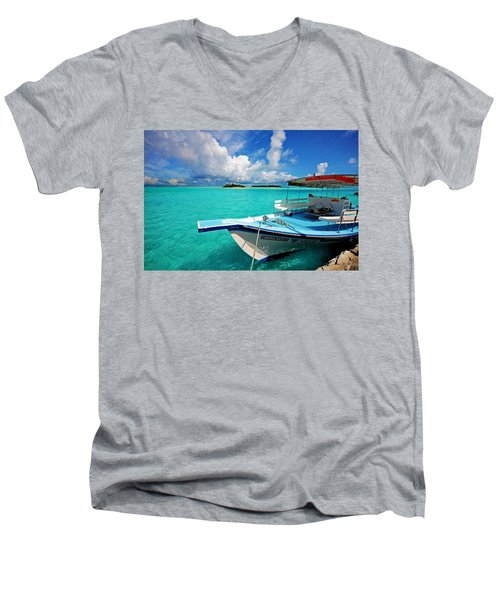 Moored Dhoni At Sun Island. Maldives Men's V-Neck T-Shirt