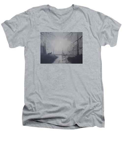 Moose Swanson River Alaska Men's V-Neck T-Shirt by Richard Faulkner