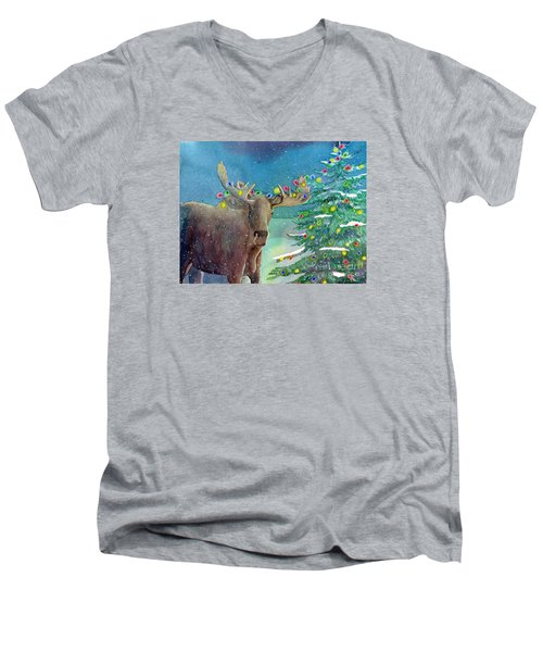 Men's V-Neck T-Shirt featuring the painting Moosey Christmas by LeAnne Sowa