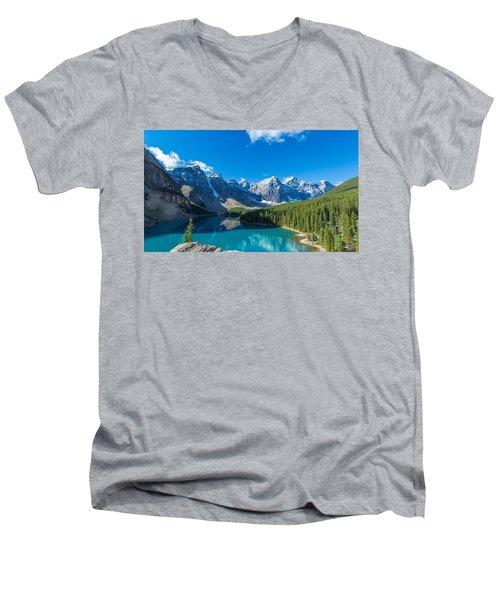 Moraine Lake At Banff National Park Men's V-Neck T-Shirt