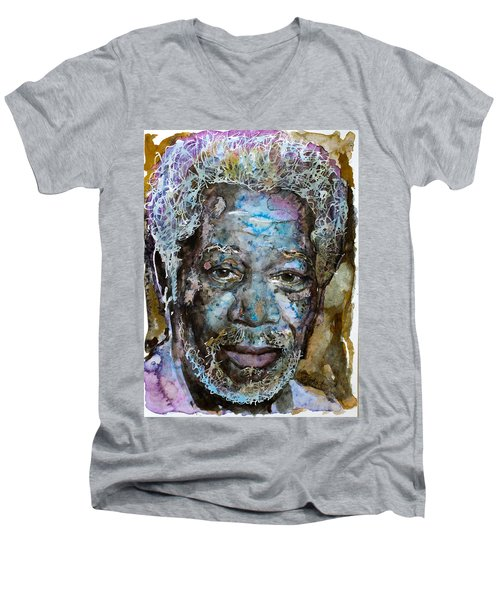 Men's V-Neck T-Shirt featuring the painting Morgan In Blue by Laur Iduc