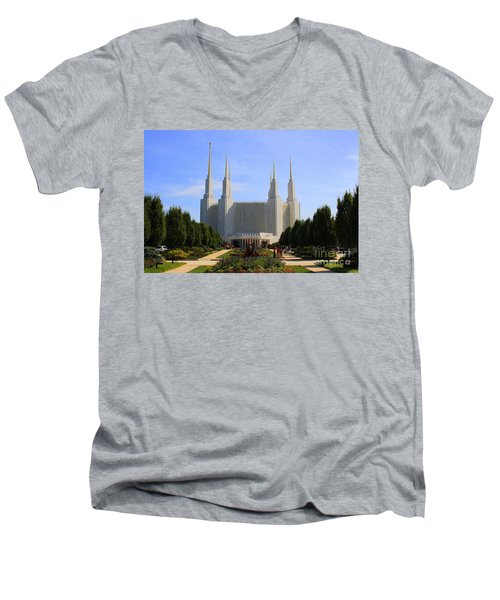 Mormon Temple Dc Men's V-Neck T-Shirt