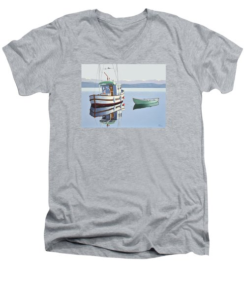 Morning Calm-fishing Boat With Skiff Men's V-Neck T-Shirt