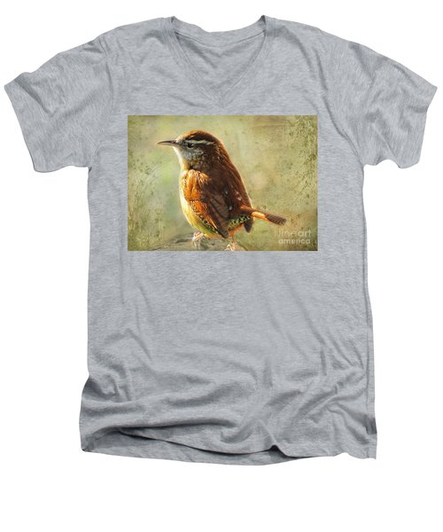 Morning Carolina Wren Men's V-Neck T-Shirt by Debbie Portwood