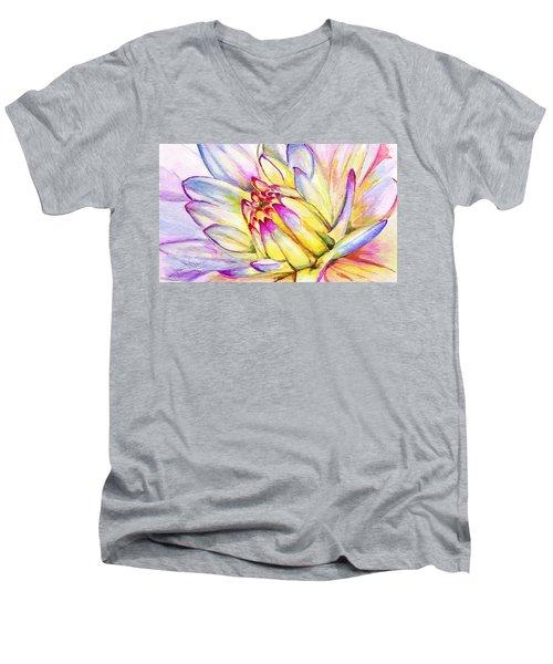 Morning Flower Men's V-Neck T-Shirt by Janet Garcia