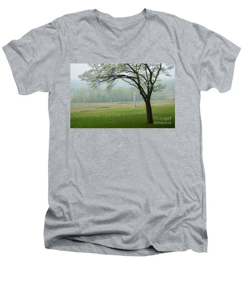 Men's V-Neck T-Shirt featuring the photograph Morning Fog At The Monument by Rima Biswas