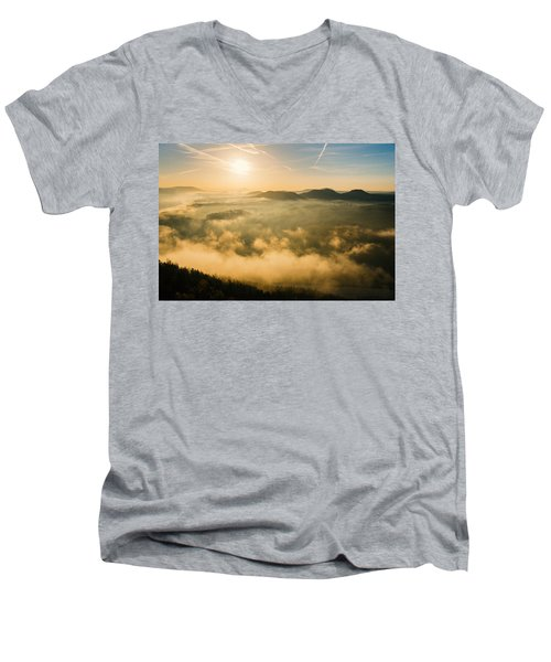 Morning Fog In The Saxon Switzerland Men's V-Neck T-Shirt