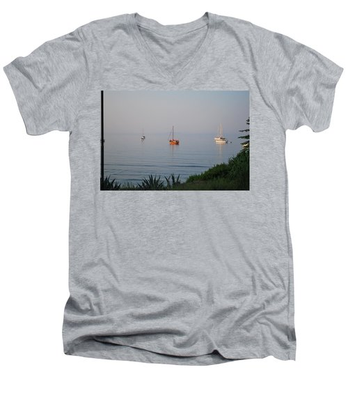 Men's V-Neck T-Shirt featuring the photograph Morning by George Katechis