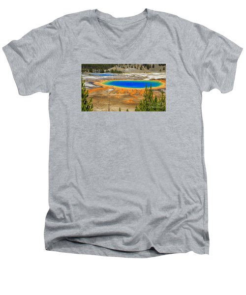 Grand Prismatic Geyser Yellowstone National Park Men's V-Neck T-Shirt