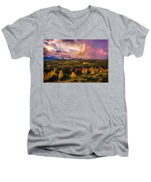 Men's V-Neck T-Shirt featuring the photograph Morning Glory by Ken Smith
