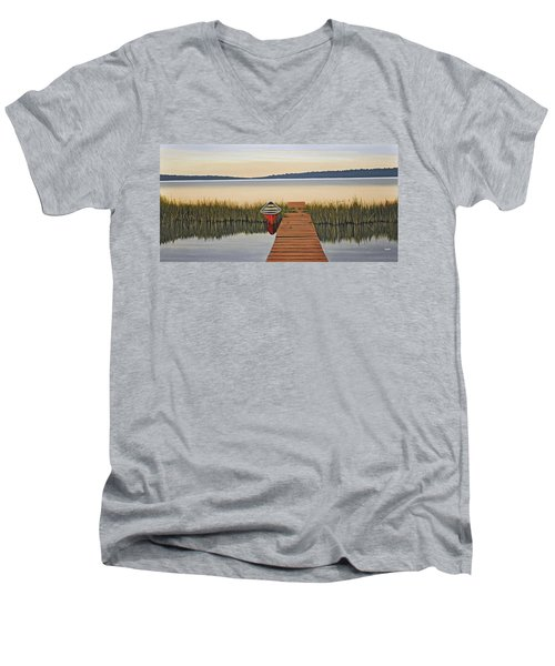 Men's V-Neck T-Shirt featuring the painting Morning Has Broken by Kenneth M  Kirsch