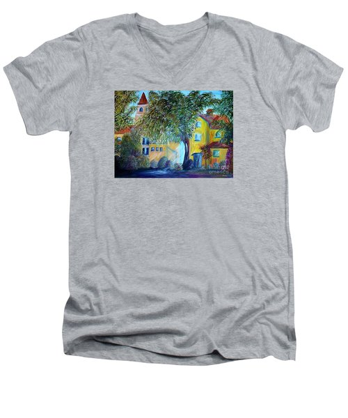 Men's V-Neck T-Shirt featuring the painting Morning In Tuscany by Eloise Schneider