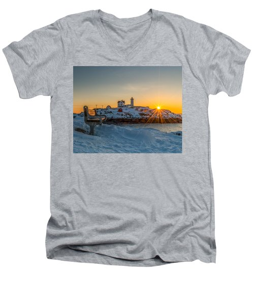Morning Light At Nubble Lighthouse Men's V-Neck T-Shirt