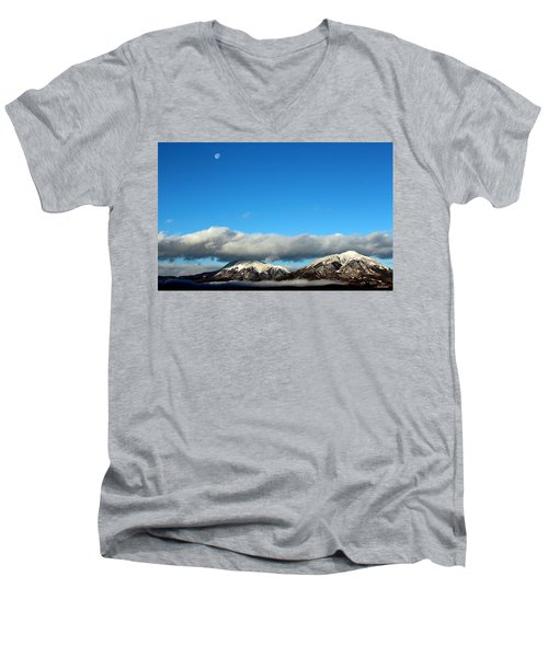 Men's V-Neck T-Shirt featuring the photograph Morning Moon Over Spanish Peaks by Barbara Chichester