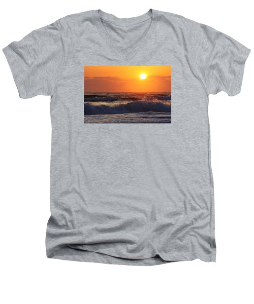 Men's V-Neck T-Shirt featuring the photograph Morning On The Beach by Bruce Bley