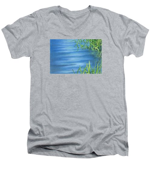 Morning On The Pond Men's V-Neck T-Shirt by Troy Levesque