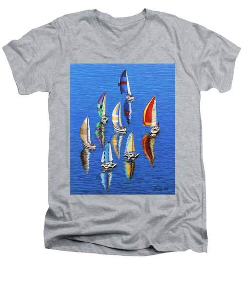 Morning Reflections Men's V-Neck T-Shirt by Jane Girardot