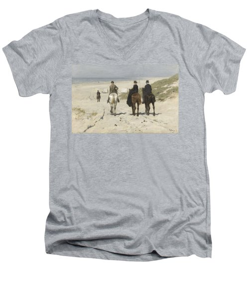 Morning Ride Along The Beach Men's V-Neck T-Shirt