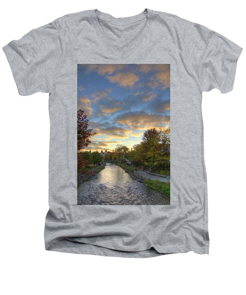 Morning Sky On The Fox River Men's V-Neck T-Shirt