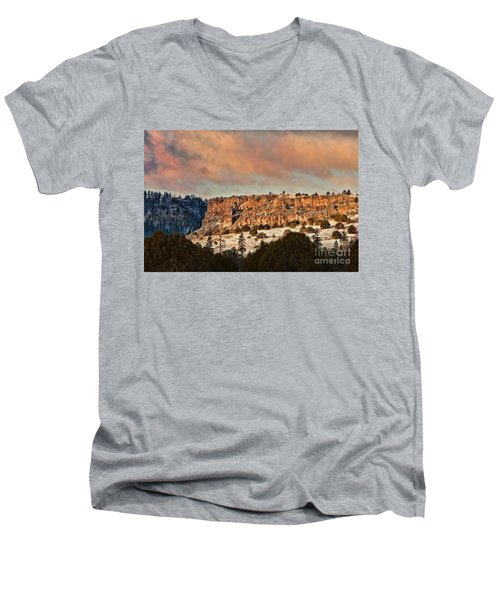 Morning Sun On The Ridge Men's V-Neck T-Shirt