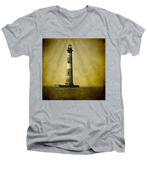 Morris Island Light Bw Vintage Men's V-Neck T-Shirt