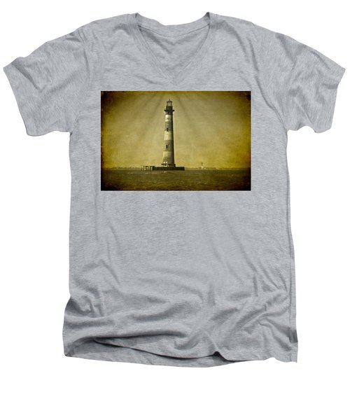Morris Island Light Vintage Bw Uncropped Men's V-Neck T-Shirt