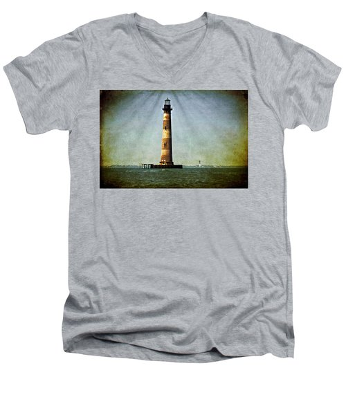 Morris Island Light Vintage Color Uncropped Men's V-Neck T-Shirt