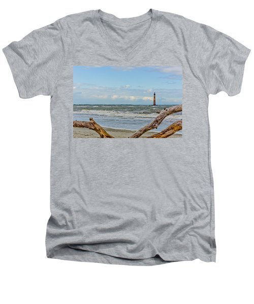Morris Island Light With Driftwood Men's V-Neck T-Shirt