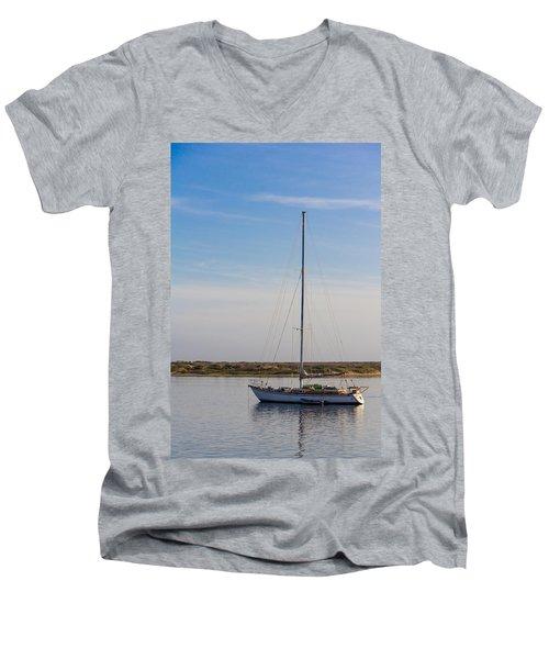 Sailboat At Anchor In Morro Bay Men's V-Neck T-Shirt