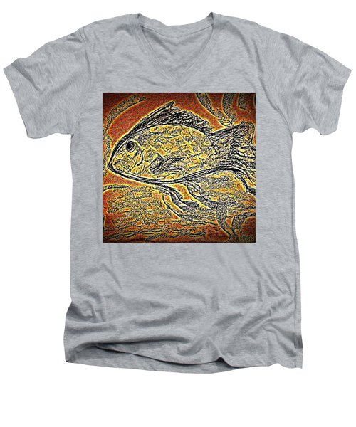 Mosaic Goldfish In Charcoal Men's V-Neck T-Shirt by Antonia Citrino