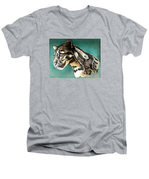 Men's V-Neck T-Shirt featuring the painting Most Elegant Leopard by VLee Watson