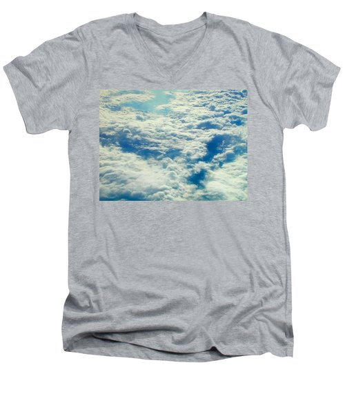 Men's V-Neck T-Shirt featuring the photograph Mostly Cloudy by Mark Greenberg
