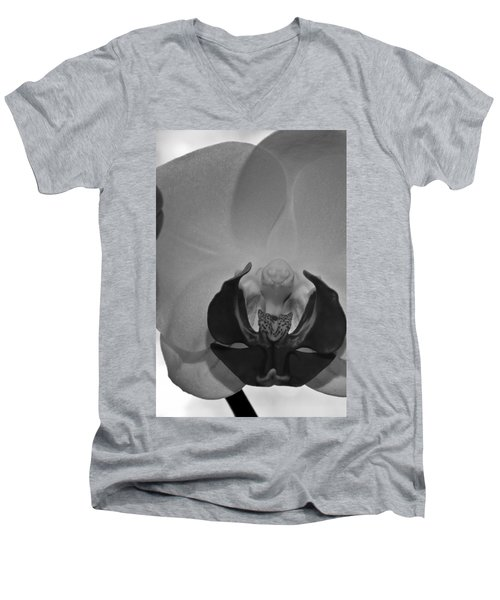 Men's V-Neck T-Shirt featuring the photograph Moth Orchid Bw by Ron White