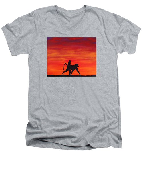 Men's V-Neck T-Shirt featuring the painting Mother Africa 4 by Michael Cross