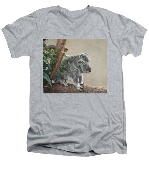Men's V-Neck T-Shirt featuring the photograph Mother And Child Koalas by John Telfer