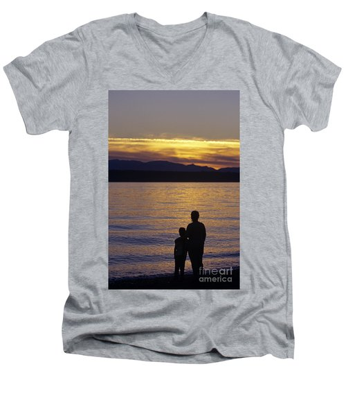 Mother And Daughter Holding Each Other Along Edmonds Beach At Su Men's V-Neck T-Shirt
