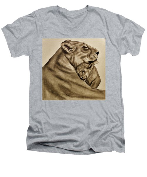 Mother And Son Men's V-Neck T-Shirt by Michael Cross