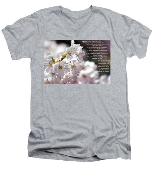 Mother Teresa Said Men's V-Neck T-Shirt by Tikvah's Hope