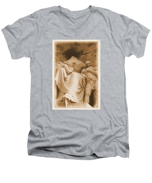 Men's V-Neck T-Shirt featuring the photograph Mother With Children by Nadalyn Larsen