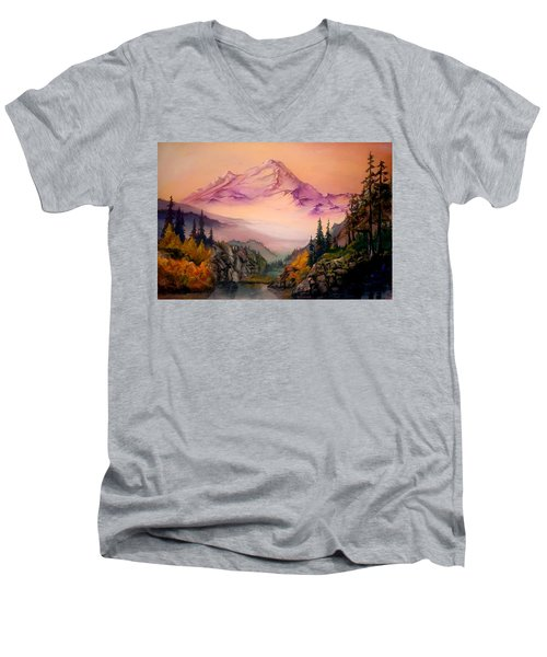 Men's V-Neck T-Shirt featuring the painting Mount Baker Morning by Sherry Shipley
