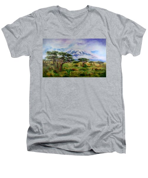 Men's V-Neck T-Shirt featuring the painting Mount Kilimanjaro Tanzania by Sher Nasser