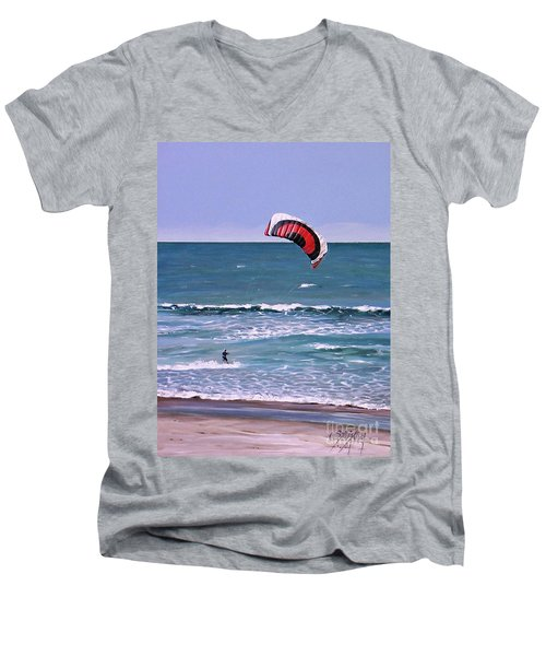 Mount Maunganui 160308 Men's V-Neck T-Shirt by Sylvia Kula