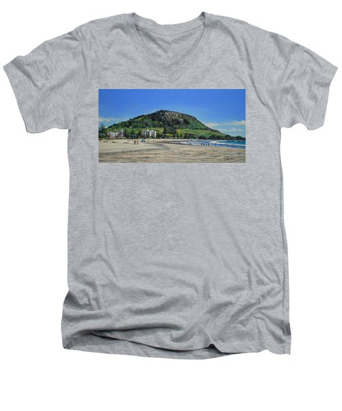 Men's V-Neck T-Shirt featuring the painting Mount Maunganui Beach 151209 by Sylvia Kula