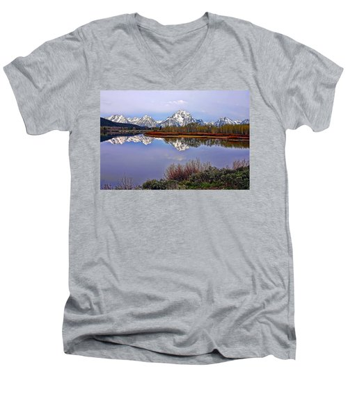 Mount Moran And Jackson Lake Men's V-Neck T-Shirt