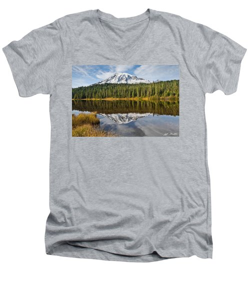 Mount Rainier And Reflection Lakes In The Fall Men's V-Neck T-Shirt by Jeff Goulden