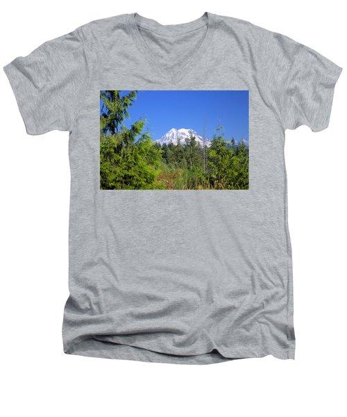 Men's V-Neck T-Shirt featuring the photograph Mount Rainier by Gordon Elwell
