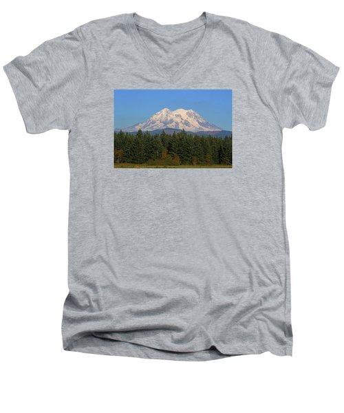 Mount Rainier Washington Men's V-Neck T-Shirt by Tom Janca