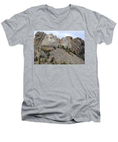 Mount Rushmore In South Dakota Men's V-Neck T-Shirt by Clarice  Lakota