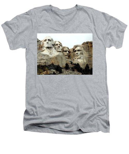 Mount Rushmore Presidents Men's V-Neck T-Shirt by Clarice  Lakota