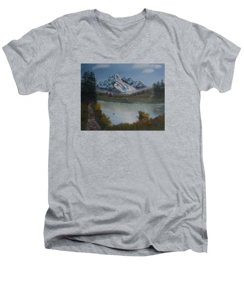 Mountain And River Men's V-Neck T-Shirt by Ian Donley